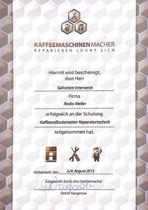 Radio Meller Kaffeemaschinen Macher Zertifikat
